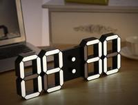 venda por atacado led digital wall clock-Creative Controle Remoto Grande LED Digital Relógio De Parede Moderno Design Home Decor 3d Decoração Big Relógio Decorativo Branco / Preto