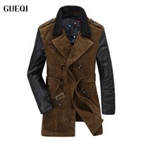 Wholesale Fall Men s Winter Leather Polyester Parka Patchwork Fashion Mens Double Breasted Sashes Warm Overcoat Contrast Color XXL