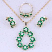 Wholesale Jewelry Sets K Gold Plated Green Emerald White Topaz Earrings Ring Pendants Chain For Women A0011