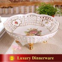 Wholesale Porcelain fruit bowl ivory porcelain god horse design hollow out outline in gold table fruit bowl modern fruit bowl wedding gift