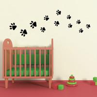 Cartoon Dog Footprint Autocollants muraux pour enfants Chambre Décor mural Décorations murales amovibles en papier peint en PVC DIY