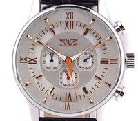 Acheter Cru mens watch automatique-Bateau gratuit! JARAGAR style horloge robe Rose russe d'or Vintage 6hands cuir Montre automatique Mens