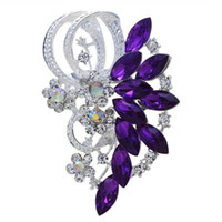 Wholesale New Hot European Fashion Metal Jewelry Purple Blue Red Acrylic Crystal Stone Brooches For Women