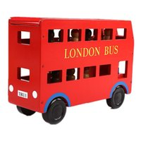 Wholesale Removable Red London Double Bus Wooden Toys for Toddlers transportation toy bus with passage