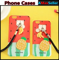 Cheap Fashion Pineapple Banana Phone Cases with Hang rope TPU Rubber Soft Black Cover for iphone6 6s plus Full Protector Protective Shell