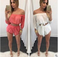 Wholesale Fashion Spring Summer Two Piece Word Collar Blouse Lace Shorts Suit One Set for Women Femme