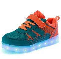 childrens shoes - New fashion light up kids led shoes luminous girl boys shoes color glowing casual with simulation sole charge for Childrens HJIA194