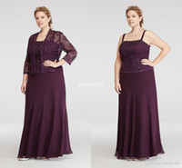 autumn specials - Plus Size Burgundy Chiffon Mother Of Bride Dresses With Jacket Vintage Lace Sequined Women Formal Evening Wears Special Occasion Gowns
