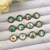 Wholesale NEW Gift mm Fashion Earrings Stud Earrings Glass cabochon earrings Cartoon stud earrings The green Christmas series X040