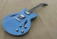 Wholesale Custom Dave Grohl Signature Metallic blue Jazz Electric Guitar Hollow Body Jazz Electric Guitar