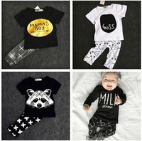 Wholesale Cute Red Black Outfits - Wholesale Boys Girls Baby Childrens Clothing Outfits Printed Kids Clothes Sets Cute Printed tshirts Harem Pants Leggings Set Clothing Suits