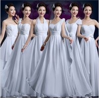 Wholesale Cheap White Bridesmaid Dresses A Line with Sleeve Long Beach Wedding Prom Evening Party Gowns Plus Size Under