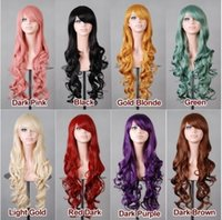 Wholesale New Europe Optional multi color cm Lady Wigs Sexy Curly Long Wavy Women Party Hair Wigs Cosplay Wigs Ladies Curly Wigs