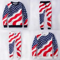 Wholesale New Quality Unisex Men Women American Flag Sweatpants Sports Running Cotton USA Flag Pajamas Joggers outfit E1051