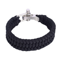 Wholesale Black ParaCord Rope Outdoor Survival Bracelet Camping Steel Shackle Buckle