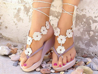accessories for pool - 2016 Summer Beach Crochet Infinity Barefoot Sandals for Wedding Beach Pool Wear Cotton Crochet Anklet Foot Flower Dance Wedding Accessories