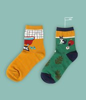 beautiful illustration - Creative illustrations bath home series custom design cotton yarn beautiful couples socks in the sack