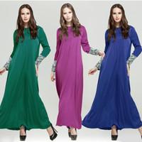 Wholesale 2016 New style Kaftan Abaya kuwaiti abaya islamic clothing Dubai muslim abaya New Islamic Clothing Women Muslim Dress Lace Sleeve Maxi Dress
