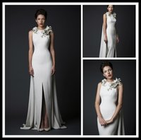 beaded flower patterns - Generous Dignified A line Satin Evening Dresses Split Floor Length Special Design Spring Autumn Long Prom Dresses Cheap