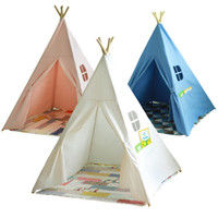 Wholesale new Four Poles Children Teepees Kids Play Indian Tent Cotton Canvas Teepee White Playhouse for Baby Room Tipi ems fedex free ship