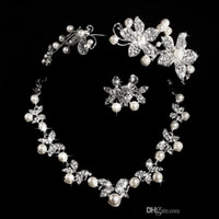 tiara and jewelry set - Hot Styles Cheap Pearl necklace and earring set With Tiaras Silver plated Rhinestones Diamond Designer Wedding Bridal Accessory Jewelry