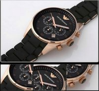Wholesale free hk shipping _Absolute luxury New Mens Black and Gold Chronograph Watch AR5905 CHRONOGRAPH WRIST WATCH original box