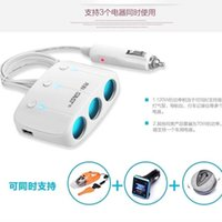 Wholesale High quality W three socket cigarette lighter splitter V A dual usb Car Charger with power switch