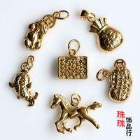 Wholesale DIY accessories copper vacuum plating K golden beads pendant purse dance pony with beads color retention