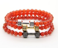 agate jewellry - 2016 Men s and women s Fashion Energy Jewellry mm A Gread Red Agate Stone Beads with Alloy Metal Fitness Dumbbell Bracelets