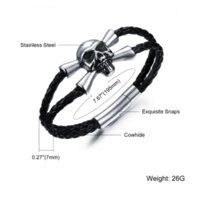 best food cooler - Punk Skull Double Layer Braided Leather Bracelet Genuine Leather Bracelet Men Cool Bangle With Stainless Steel Best Gift HD1025