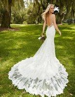 Wholesale Modest Backless Lace Wedding Dresses Spaghetti Appliques Mermaid Sex Back Court Train Elegant White Bridal Gowns