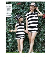 Wholesale Summer vaction Parent child Family Dress Blue and white stripes boat mother daughter dresses Family set clothes summer cotton short sleeve
