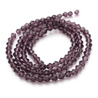 Wholesale 3strand mm purple faceted crystal beads loose spacer beads jewelry findings F2346