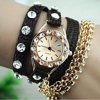 alloy chain slings - 2016 Hot Sale Summer Fashion Style Sparkling Rhinestone Long Leather Sling Chain Quartz Watches Women