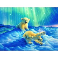 baby bear pictures - HWB Diamond Painting Embroidery Home Decor Pasted Pictures Square Drill Northern Lights Baby polar bear X30cm