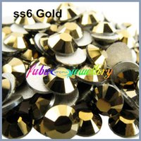 Wholesale ss6 mm Gold Plated Nail Art Non Hotfix Flat Back Crystals