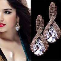 Wholesale Gold Plated Water Drop Crystal Long Earrings Pending White Rhinestone Big Hanging Earrings Female Wedding Jewelry