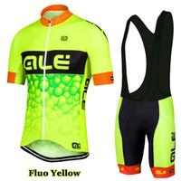 Prezzi Kit e bike-2016 Flou giallo squadra Ale ciclismo maglia manica corta e ciclismo Salopette Kit camicia della bicicletta della bici abbigliamento vestiti Ropa Ciclismo