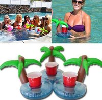 bath bar - Inflatable Drink Can Holder Floating Palm Island Tree Coasters Drink Holder Pool Floating Bar Drink Holder Pool Bath Toys KKA560