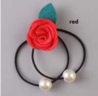 band wanted - Camellia hair bands rose flower head rope The great pearl string cute hair rope colors note you want color