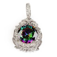 american reviews - Sporty Pendants Rainbow Mystic and White Cubic Zirconia Silver Plated P3594 Rave reviews Explosion models Noble Generous Engagement Wedding