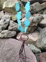 big rope chain necklace - ST0276 Unique Boho Jewelry Heavy Women Fancy Turquoise Slab big stone necklace with handcraft long leather tassel