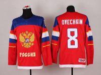 Venta al por mayor / Venta al por menor Sochi 2014 Olympics Equipo Rusia Alex Ovechkin Jersey # 8 Sochi Invierno Federación Rusa Red Ice Hockey Jerseys