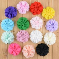 accessory clothing shoes - 2 inch Chiffon shabby Flower Kids Shoes Hat Flower Hair Accessories Clothing Decoration Corsage headband headwear Colors B066