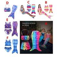 Wholesale 2016 NEW SET Girls Kids Mermaid Tail Swimmable Bikini Set Swimwear Swimsuit Swimming Costumes