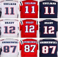 Wholesale 12 Tom Brady Rob Gronkowski Julian Edelman Embroidery Logo Stitched Men Elite America Football Jerseys Rugby Sportswear Mix Order