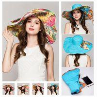 Wholesale LJJG152 Foldable Double Sided Sunhat Spring Summer Wide Brim Floppy Hat Dismountable Bowknot Sunhat Beach Head Wear Sunbonnet Topee