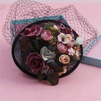 sinamay fabric - Korean Bride Sinamay Wedding Hat And Fascinator Handmade Fabric Flower Veil Hair Clip Vintage Party Fascinator Women Bkacj Sinamay Headwear