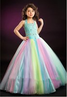 Wholesale Lovely Rainbow Halter Flower Girls Dresses Girls Pageant Dress Birthday Dress Custom Size F329015