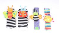 Wholesale 20 Cute Animal Infant Baby Kids Hand Wrist Bell Foot Sock Rattles Soft Vibrant Hand foot finder toys